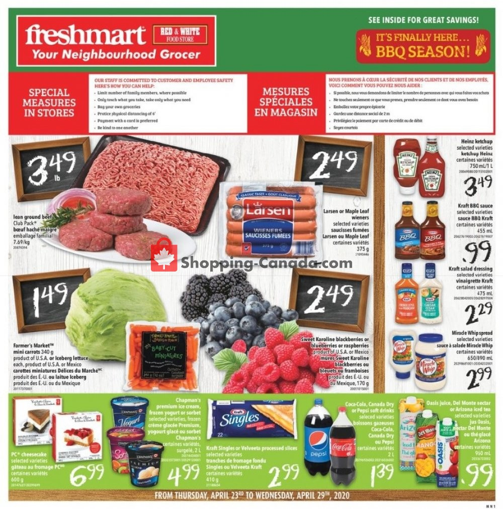 Flyer Freshmart Canada - from Thursday April 23, 2020 to Wednesday April 29, 2020