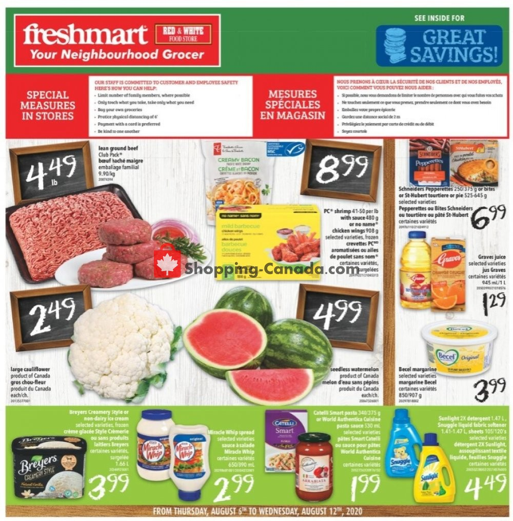 Flyer Freshmart Canada - from Thursday August 6, 2020 to Wednesday August 12, 2020