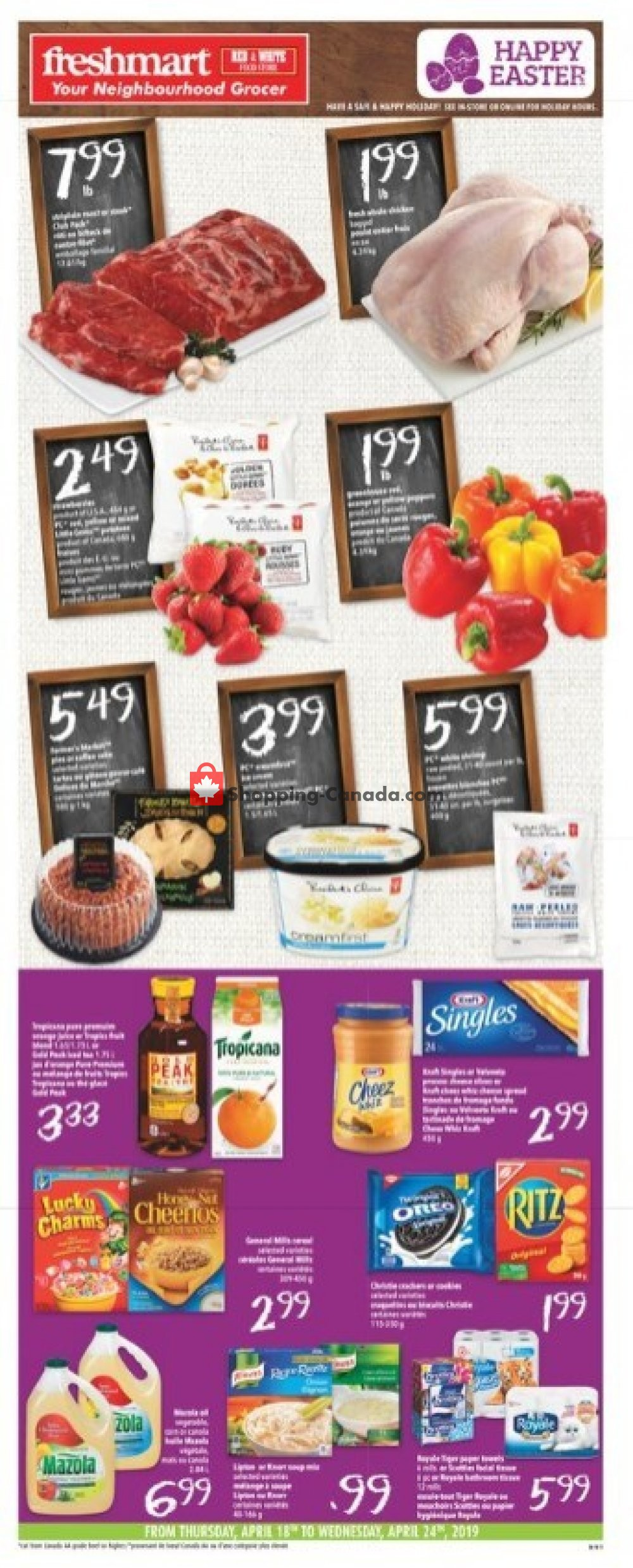 Flyer Freshmart Canada - from Thursday April 18, 2019 to Wednesday April 24, 2019