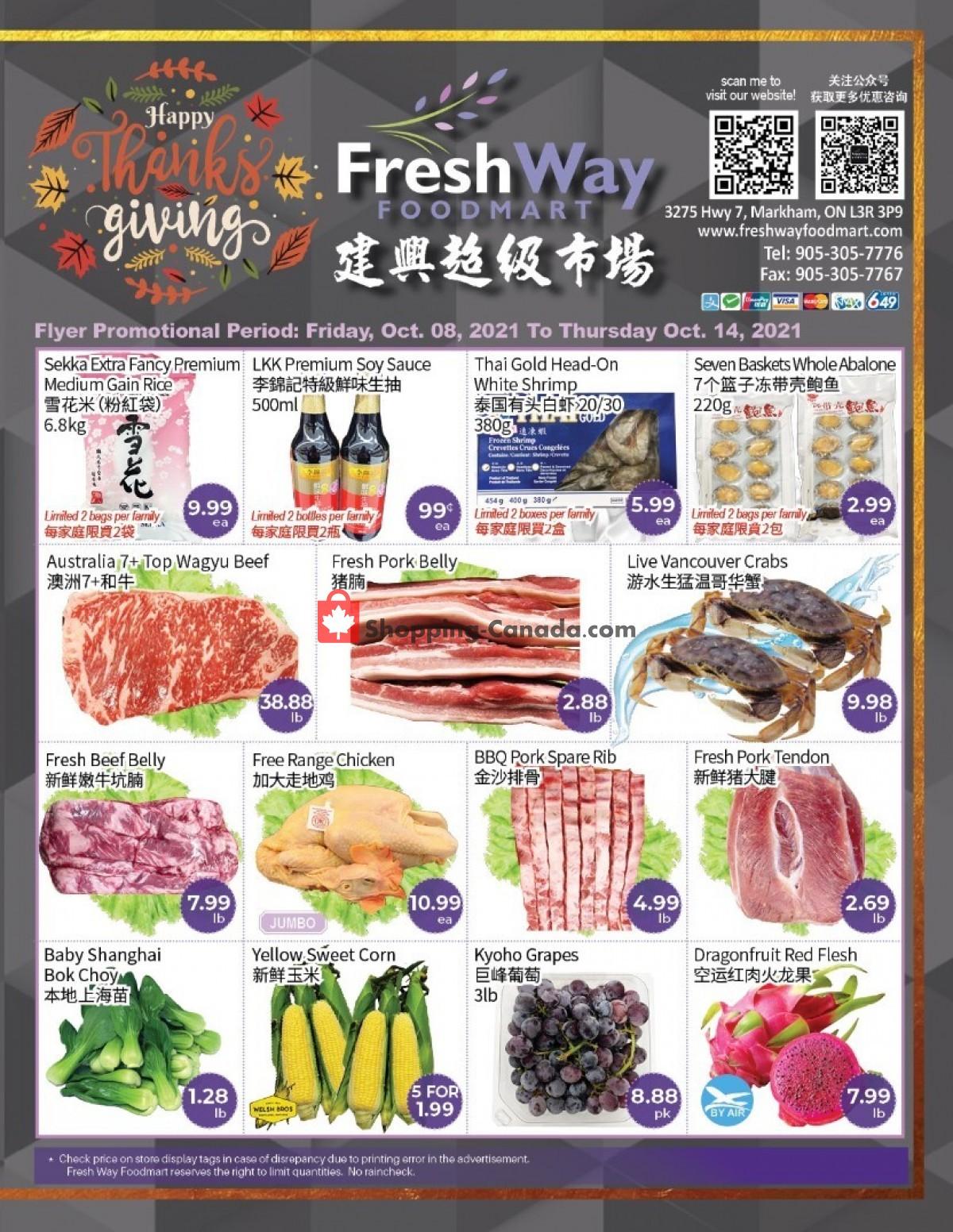 Flyer FreshWay Foodmart Canada - from Friday October 8, 2021 to Thursday October 14, 2021
