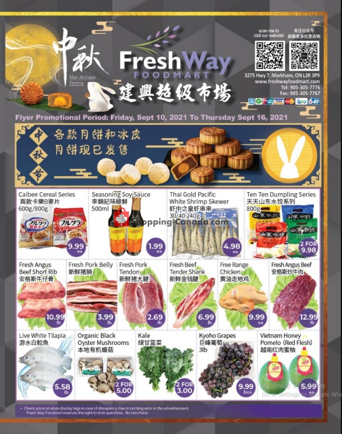 Flyer FreshWay Foodmart Canada - from Friday September 10, 2021 to Thursday September 16, 2021