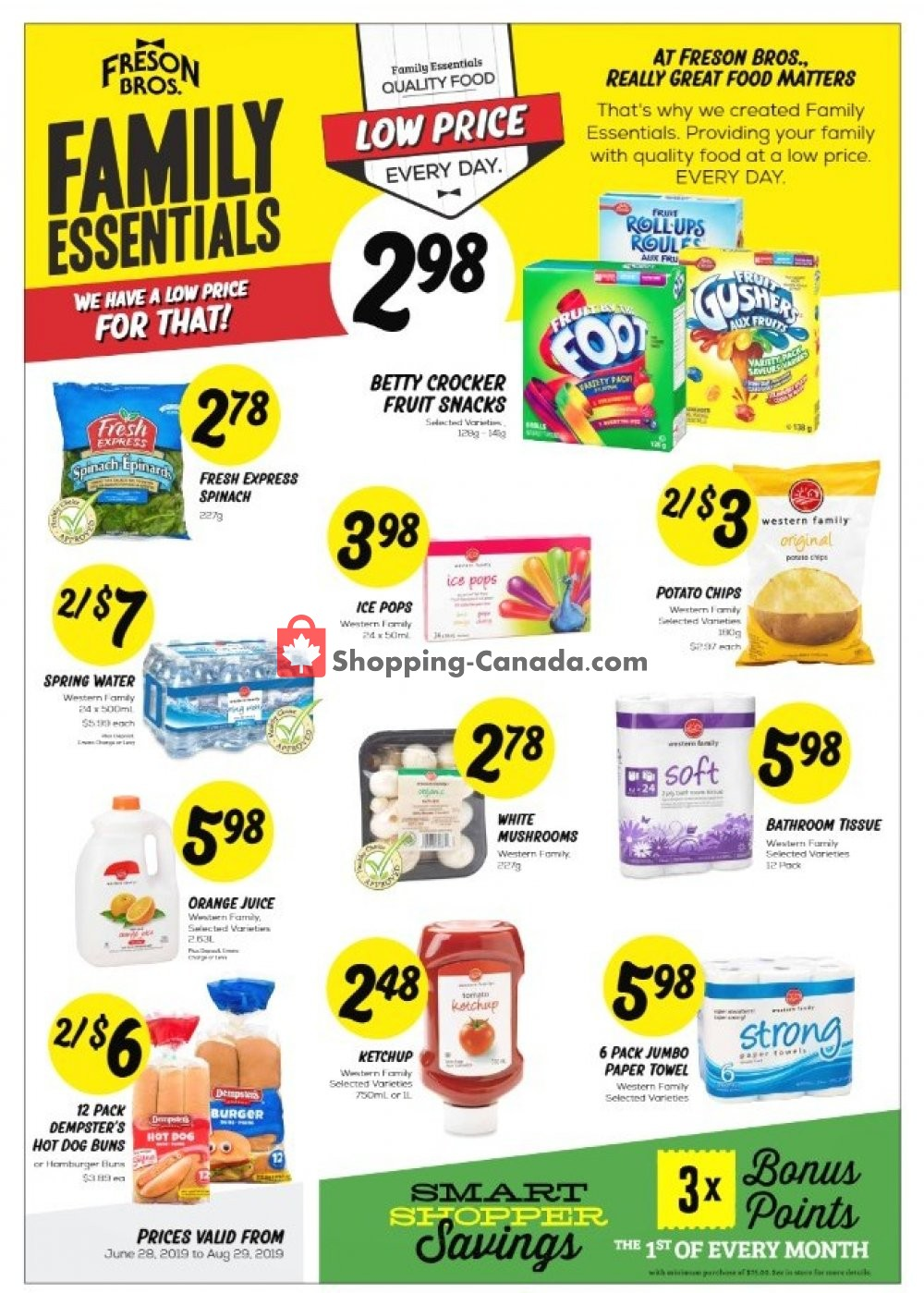 Flyer Freson Bros. Canada - from Friday June 28, 2019 to Thursday August 29, 2019