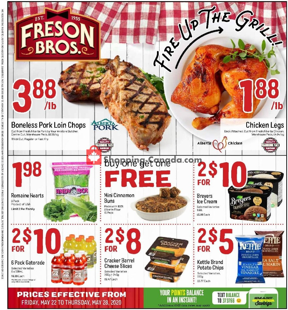 Flyer Freson Bros. Canada - from Friday May 22, 2020 to Thursday May 28, 2020