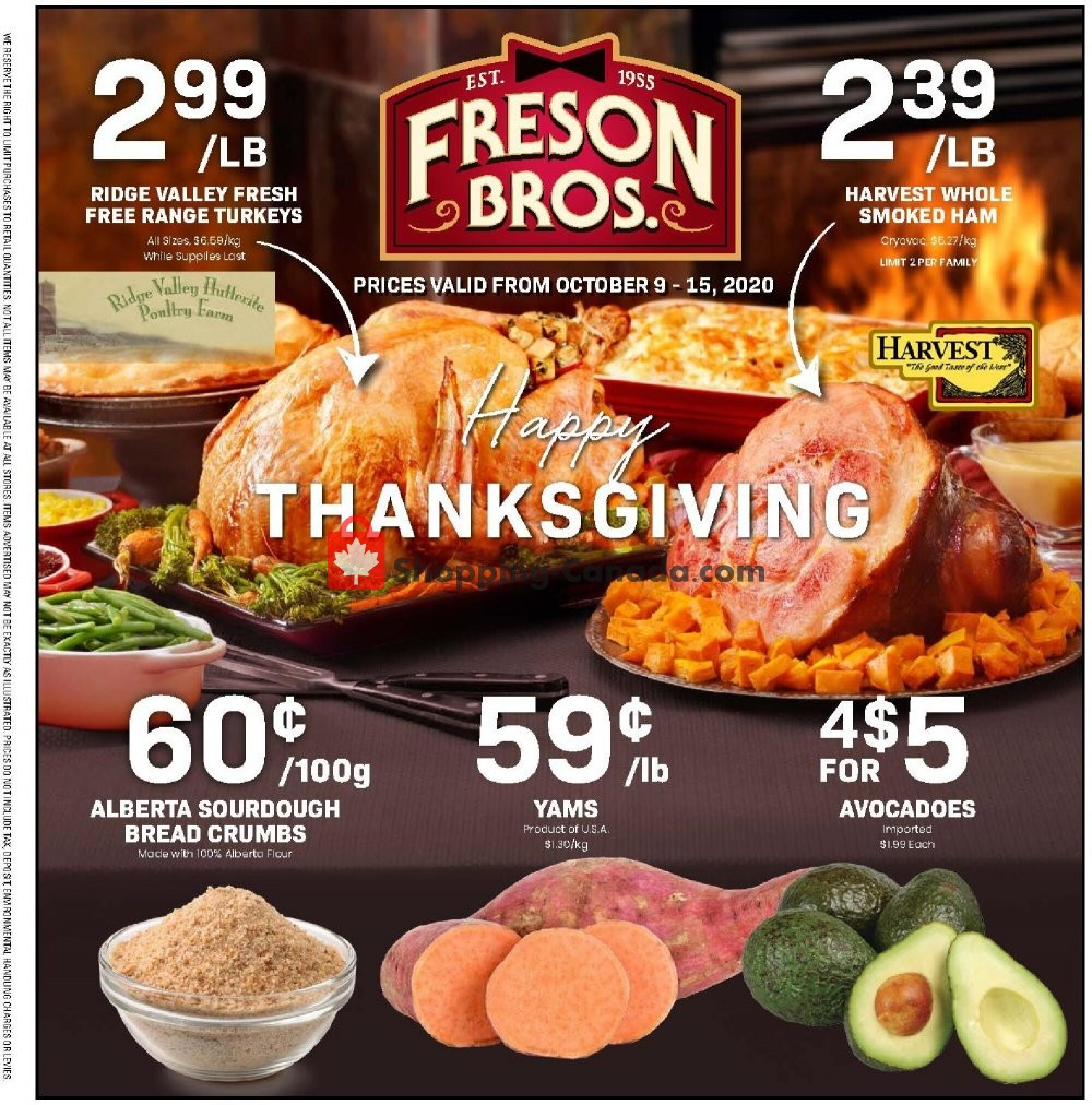 Flyer Freson Bros. Canada - from Friday October 9, 2020 to Thursday October 15, 2020