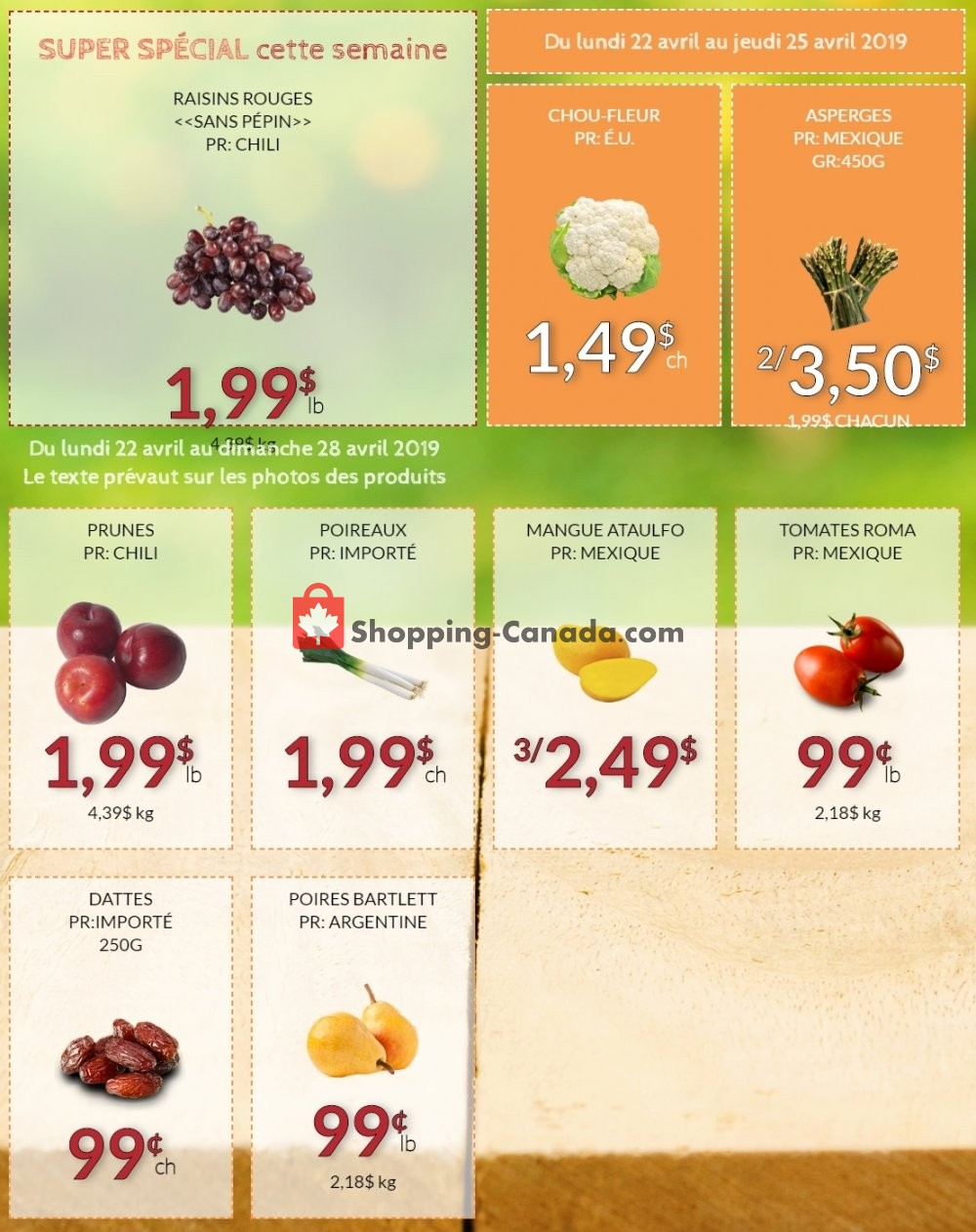 Flyer Fruiterie 440 Canada - from Monday April 22, 2019 to Thursday April 25, 2019