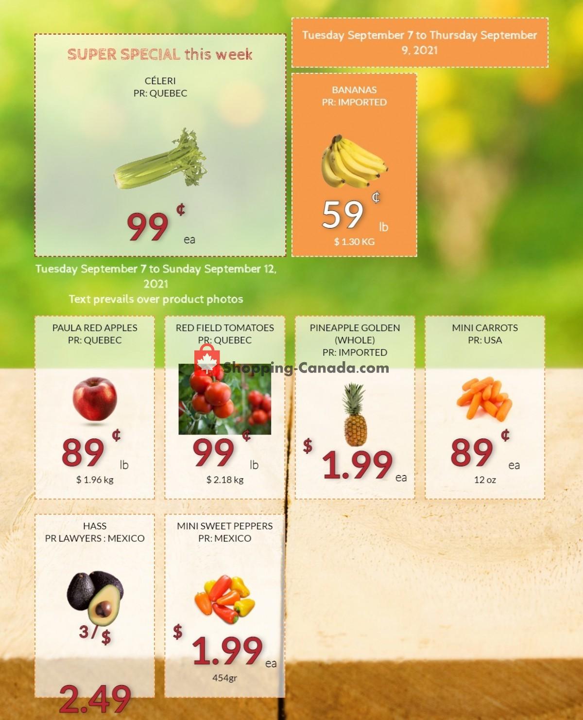 Flyer Fruiterie 440 Canada - from Tuesday September 7, 2021 to Sunday September 12, 2021
