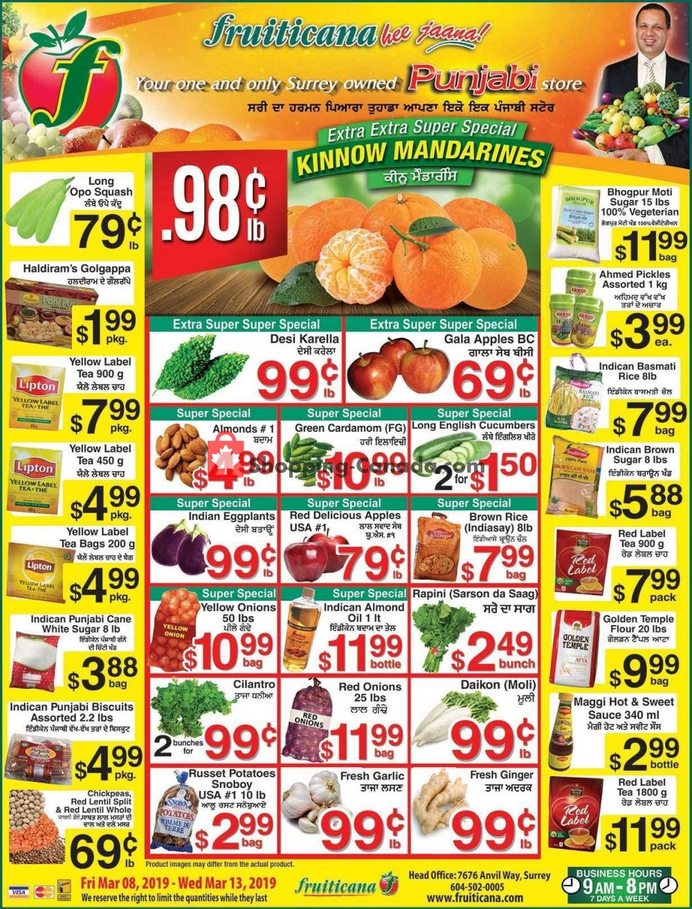 Flyer Fruiticana Canada - from Friday March 8, 2019 to Wednesday March 13, 2019