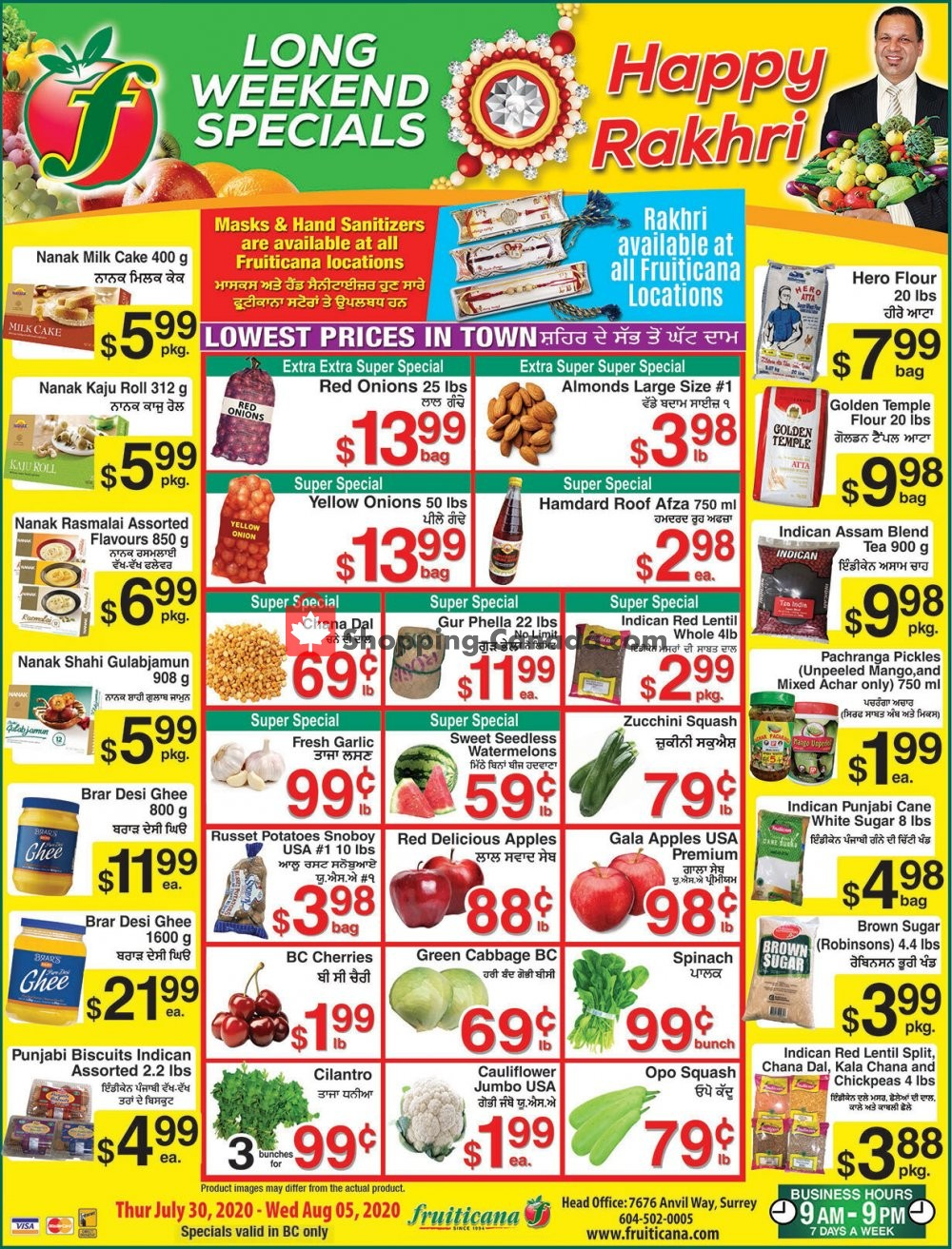 Flyer Fruiticana Canada - from Thursday July 30, 2020 to Wednesday August 5, 2020