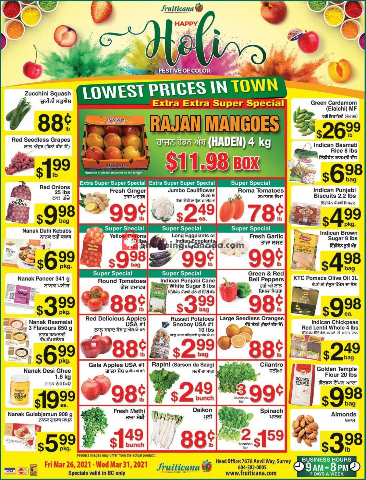 Flyer Fruiticana Canada - from Friday March 26, 2021 to Wednesday March 31, 2021