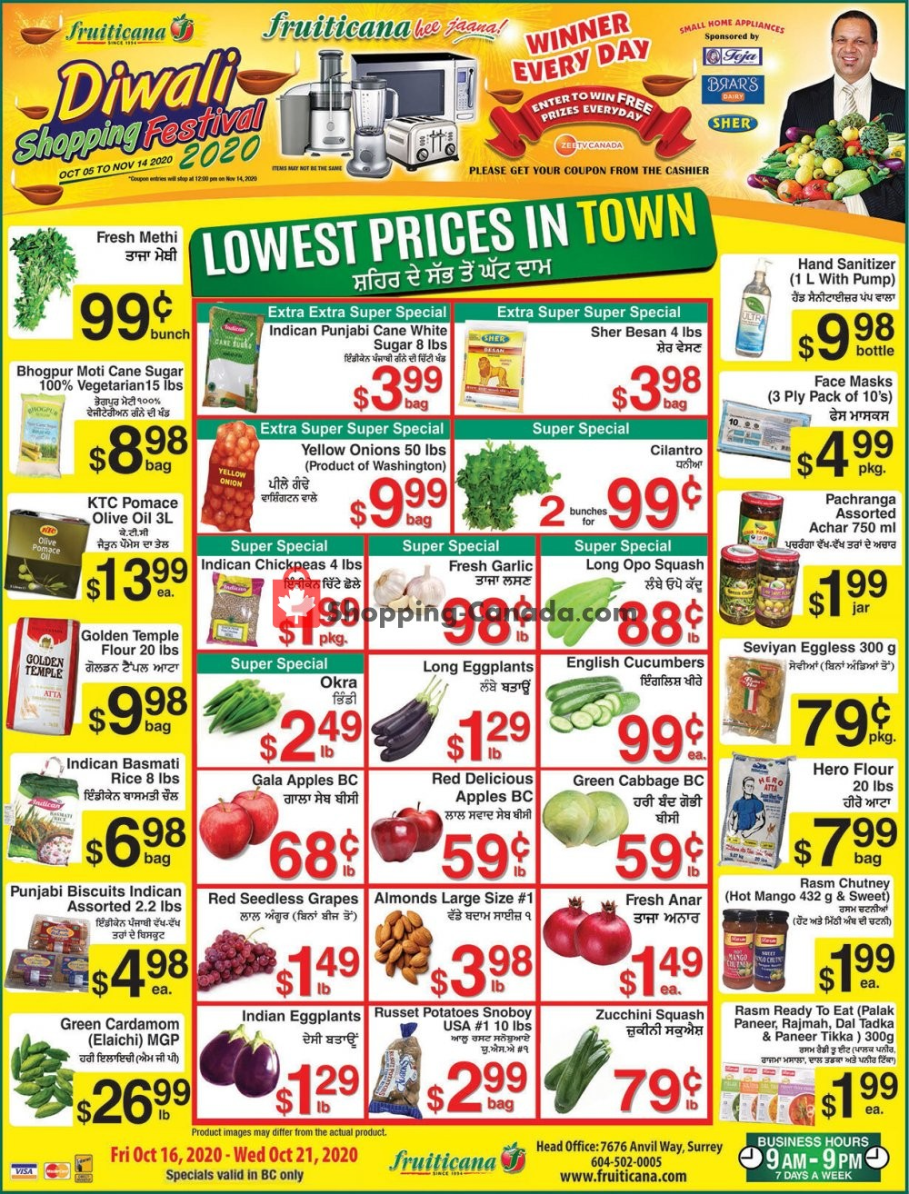 Flyer Fruiticana Canada - from Friday October 16, 2020 to Wednesday October 21, 2020