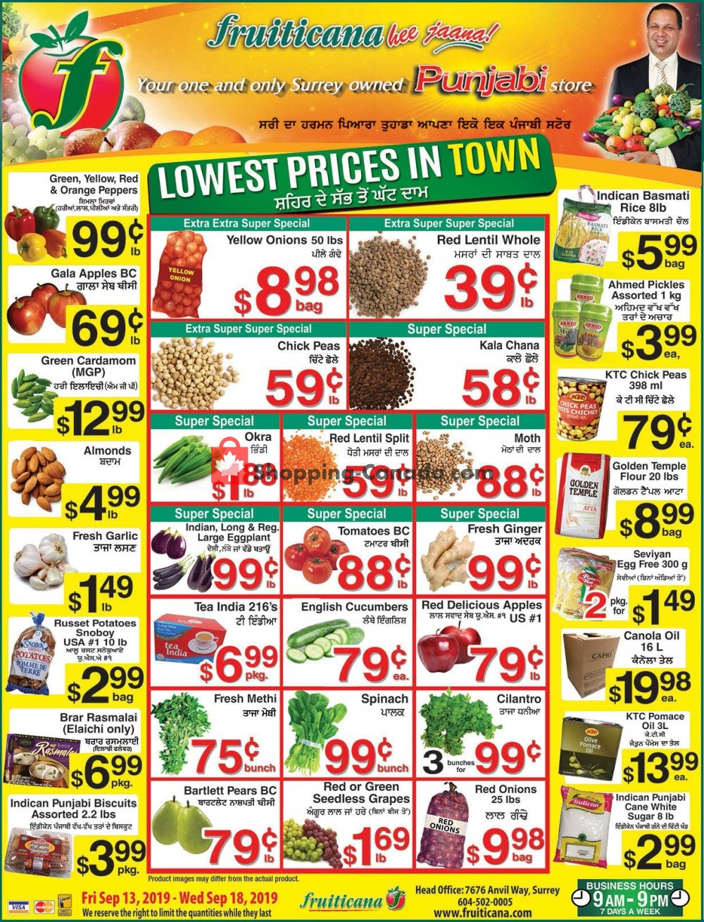 Flyer Fruiticana Canada - from Friday September 13, 2019 to Wednesday September 18, 2019