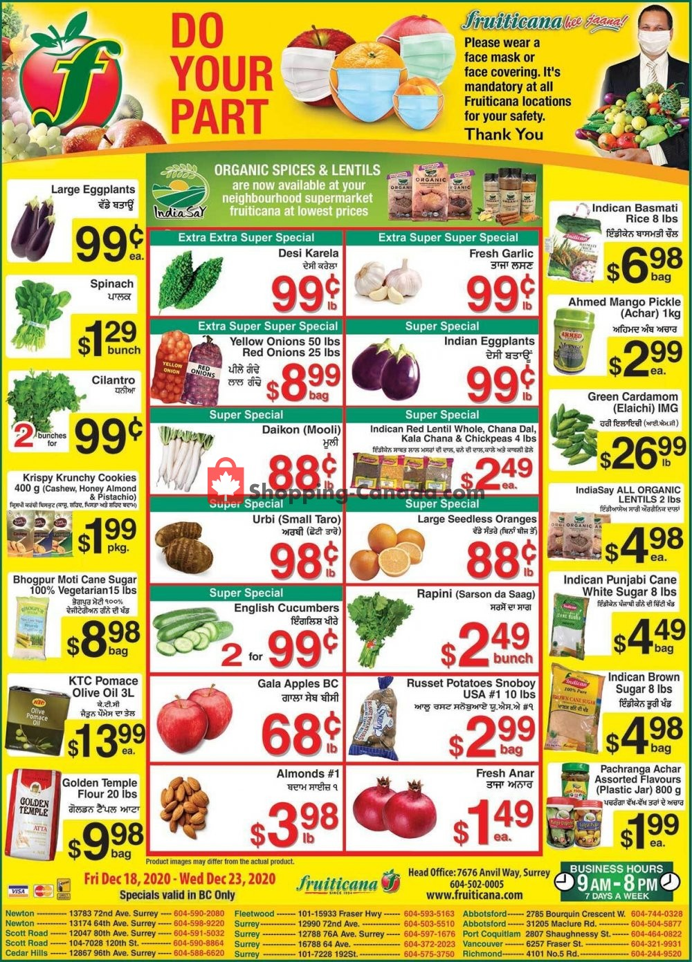 Flyer Fruiticana Canada - from Friday December 18, 2020 to Wednesday December 23, 2020