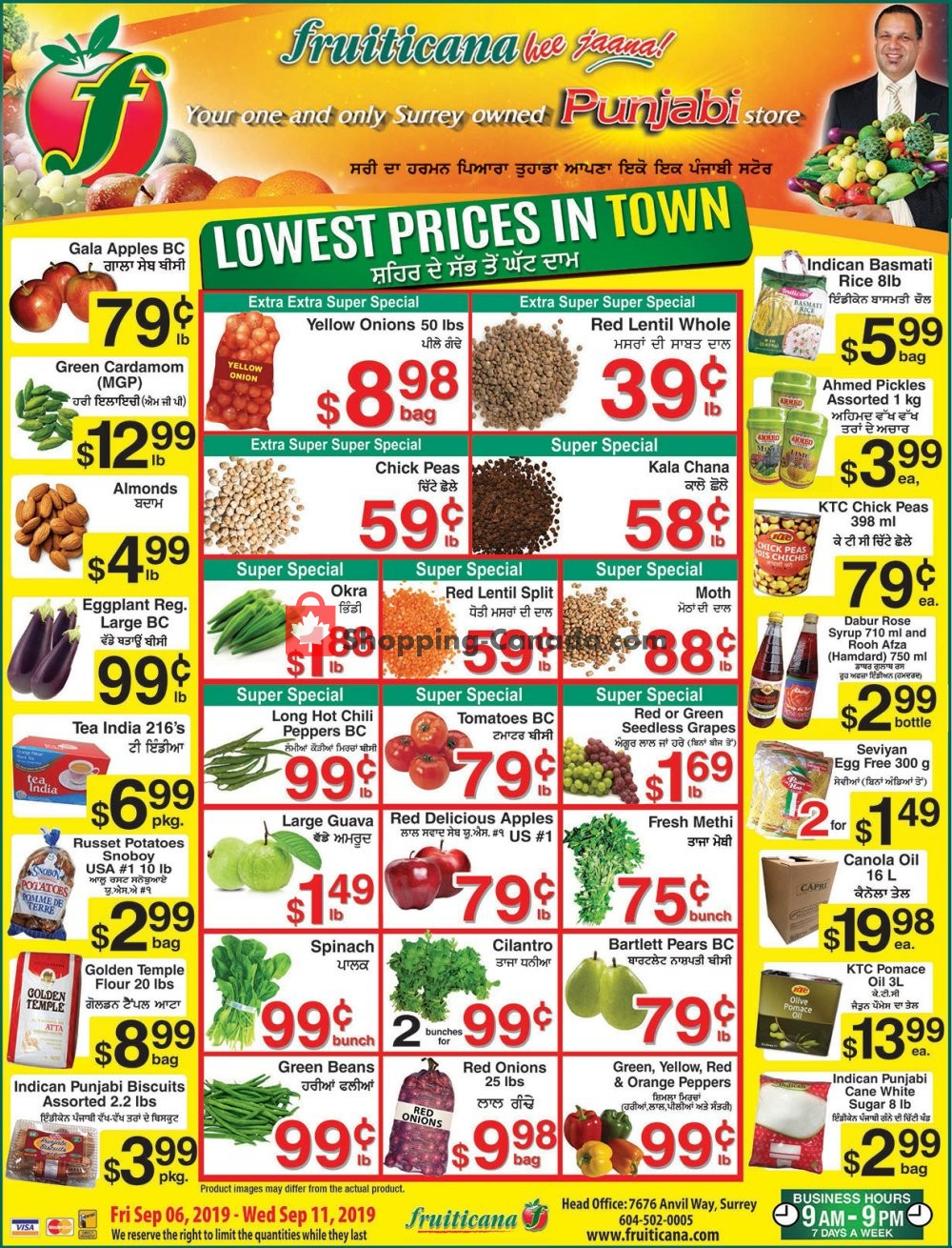 Flyer Fruiticana Canada - from Friday September 6, 2019 to Wednesday September 11, 2019