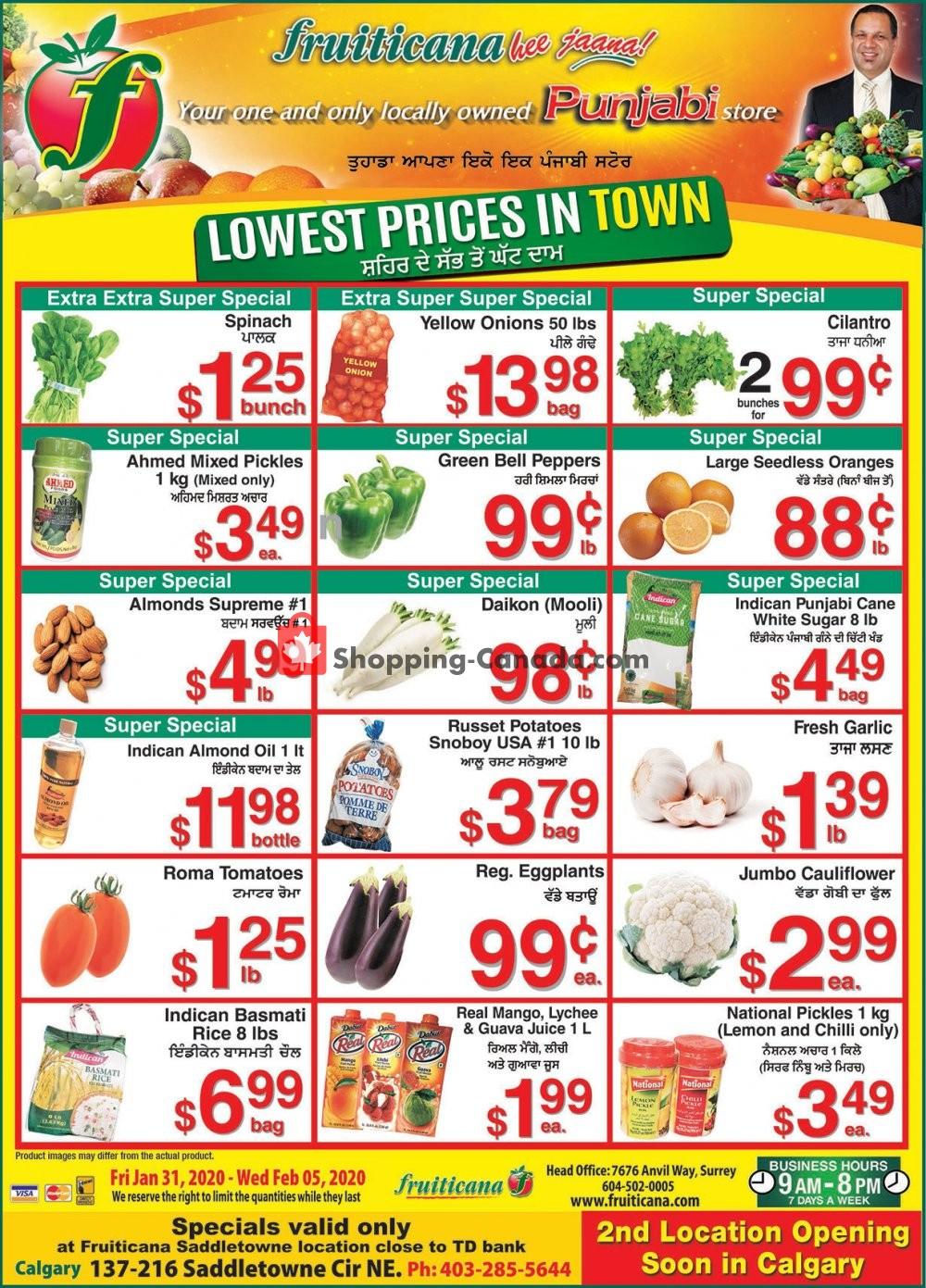 Flyer Fruiticana Canada - from Friday January 31, 2020 to Wednesday February 5, 2020