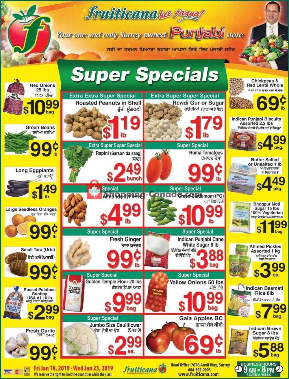 Flyer Fruiticana Canada - from Friday January 18, 2019 to Wednesday January 23, 2019