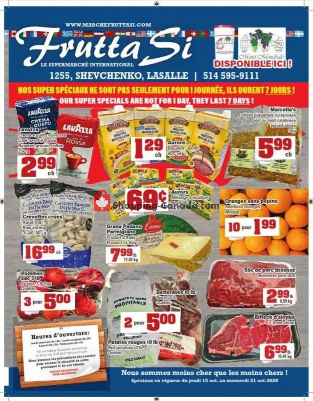 Flyer Frutta Si Canada - from Thursday October 15, 2020 to Wednesday October 21, 2020