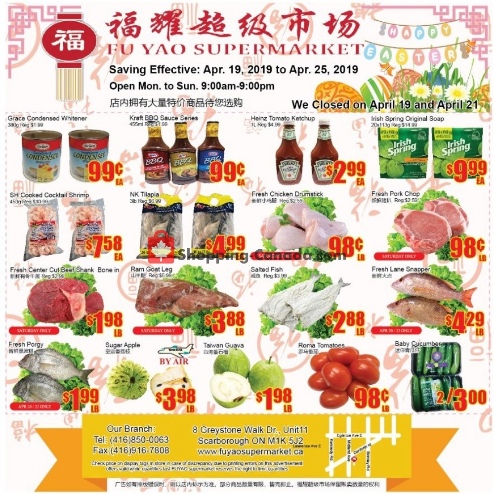 Flyer Fu Yao Supermarket Canada - from Friday April 19, 2019 to Thursday April 25, 2019