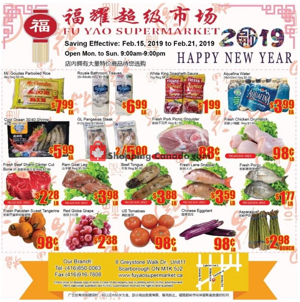 Flyer Fu Yao Supermarket Canada - from Friday February 15, 2019 to Thursday February 21, 2019