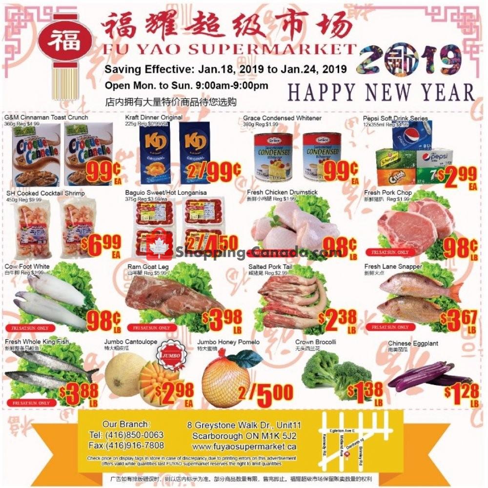 Flyer Fu Yao Supermarket Canada - from Friday January 18, 2019 to Thursday January 24, 2019