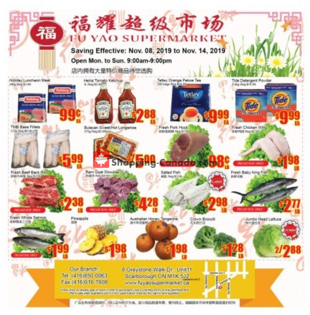 Flyer Fu Yao Supermarket Canada - from Friday November 8, 2019 to Thursday November 14, 2019