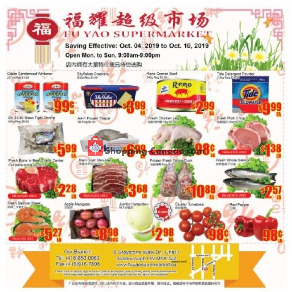 Flyer Fu Yao Supermarket Canada - from Friday October 4, 2019 to Thursday October 10, 2019