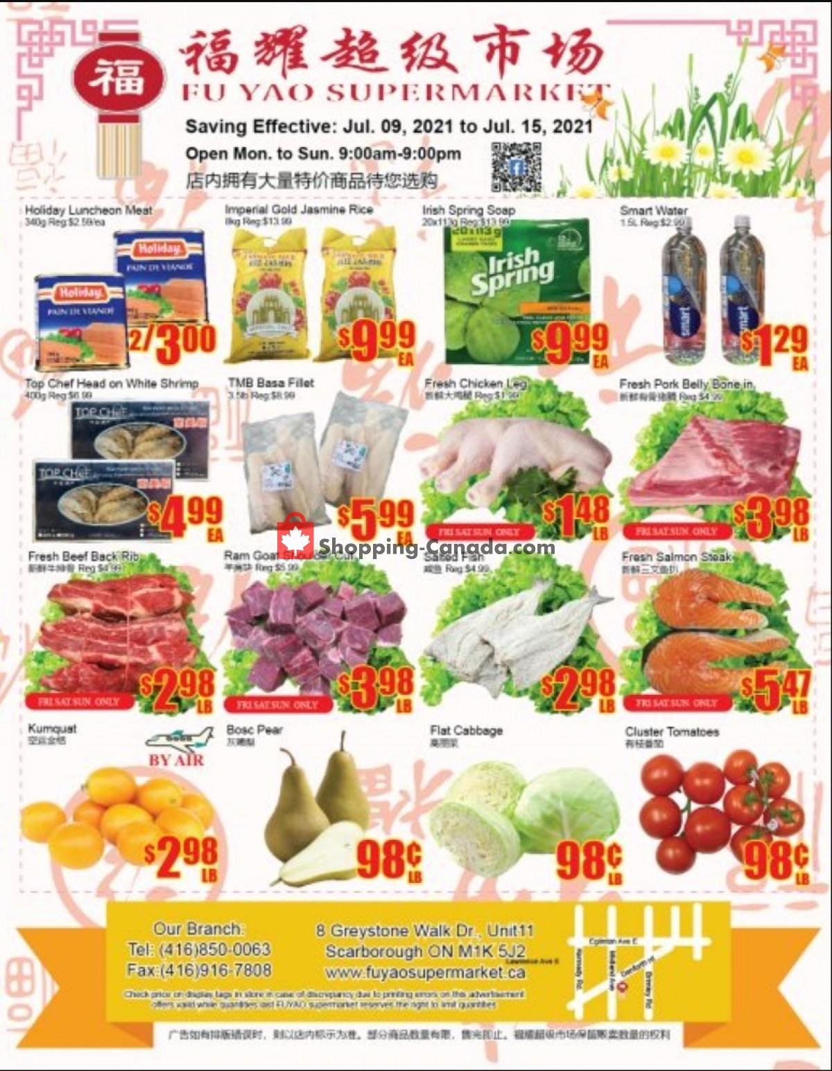 Flyer Fu Yao Supermarket Canada - from Friday July 9, 2021 to Thursday July 15, 2021
