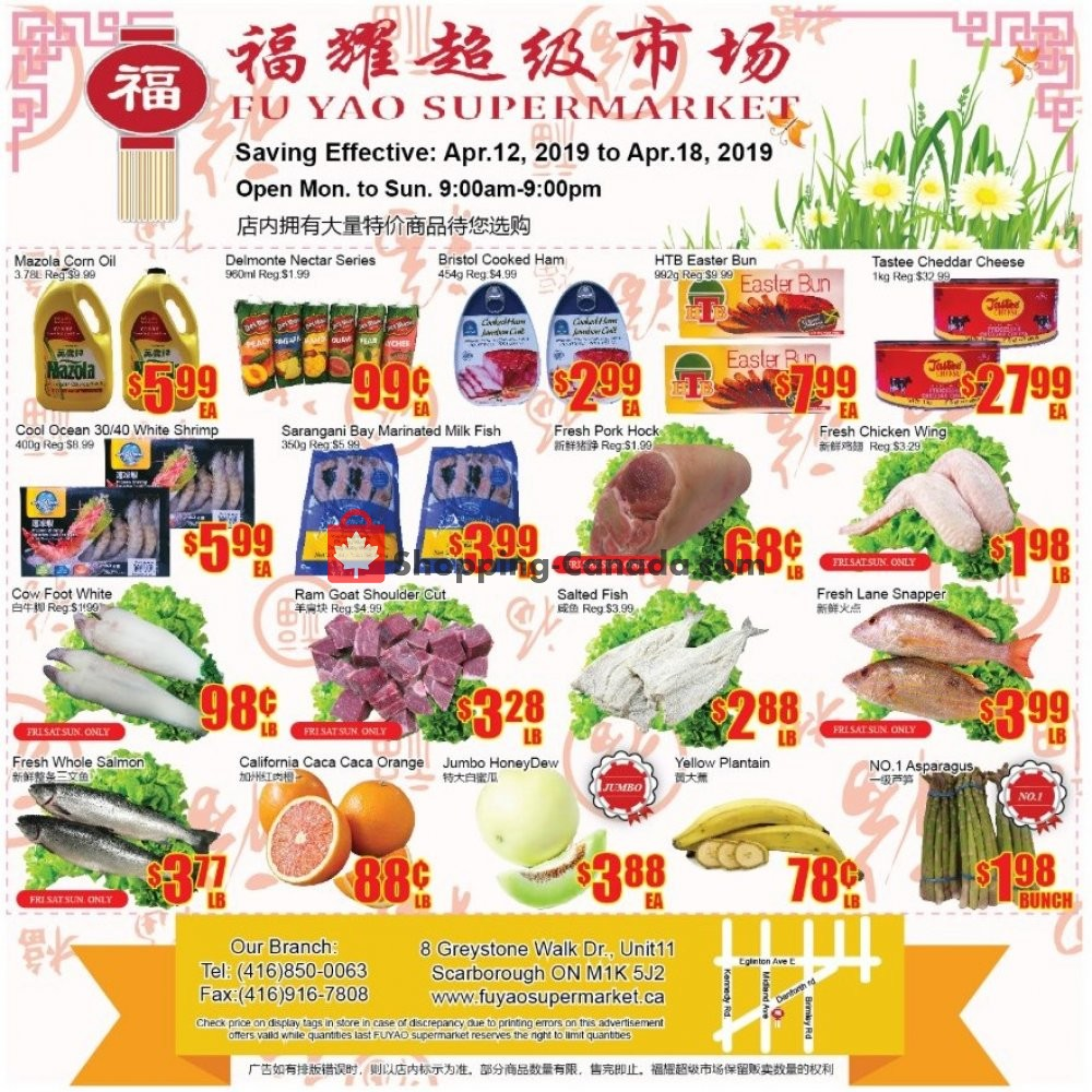 Flyer Fu Yao Supermarket Canada - from Friday April 12, 2019 to Thursday April 18, 2019