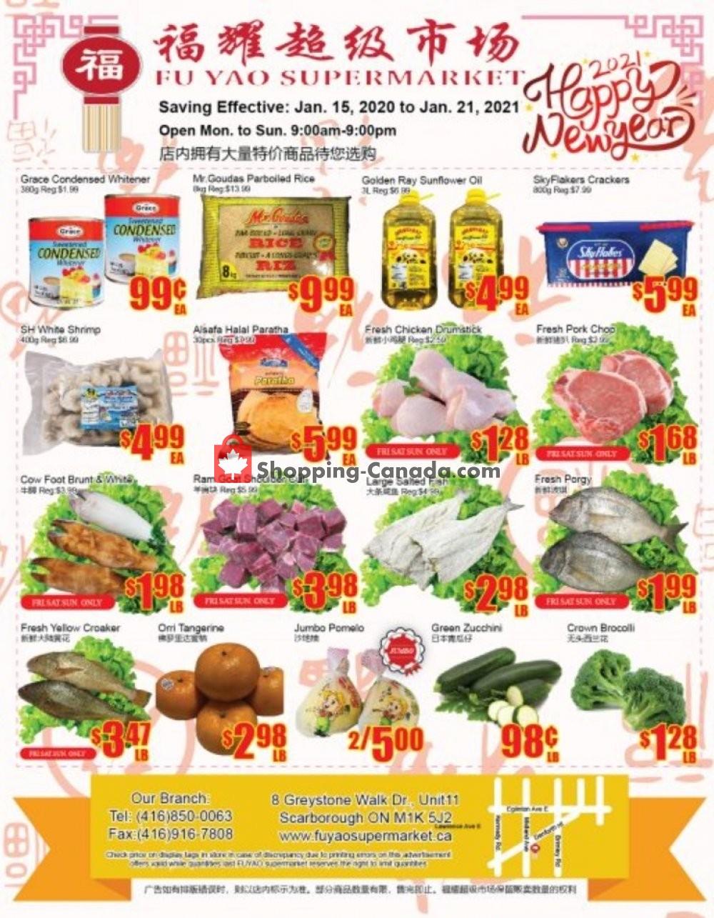 Flyer Fu Yao Supermarket Canada - from Friday January 15, 2021 to Thursday January 21, 2021