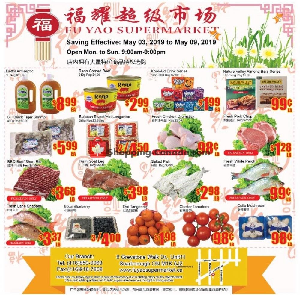 Flyer Fu Yao Supermarket Canada - from Friday May 3, 2019 to Thursday May 9, 2019