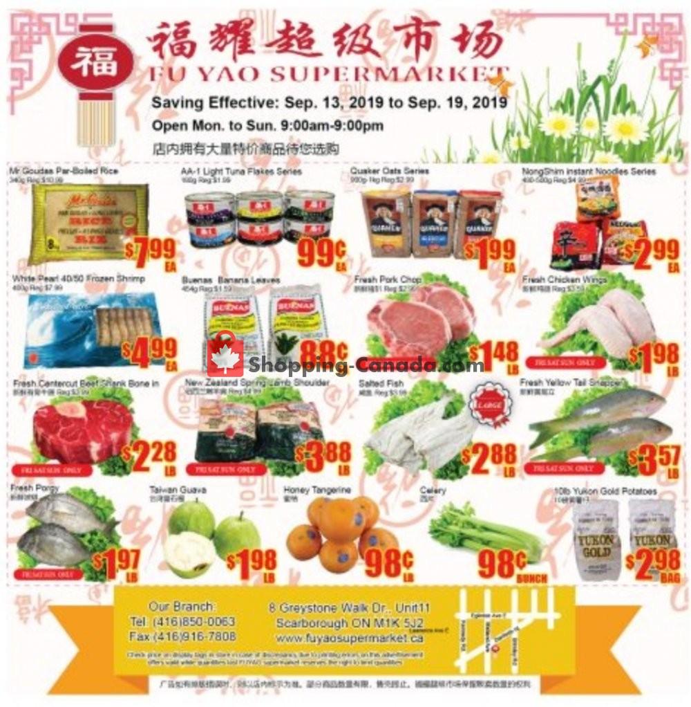 Flyer Fu Yao Supermarket Canada - from Friday September 13, 2019 to Thursday September 19, 2019