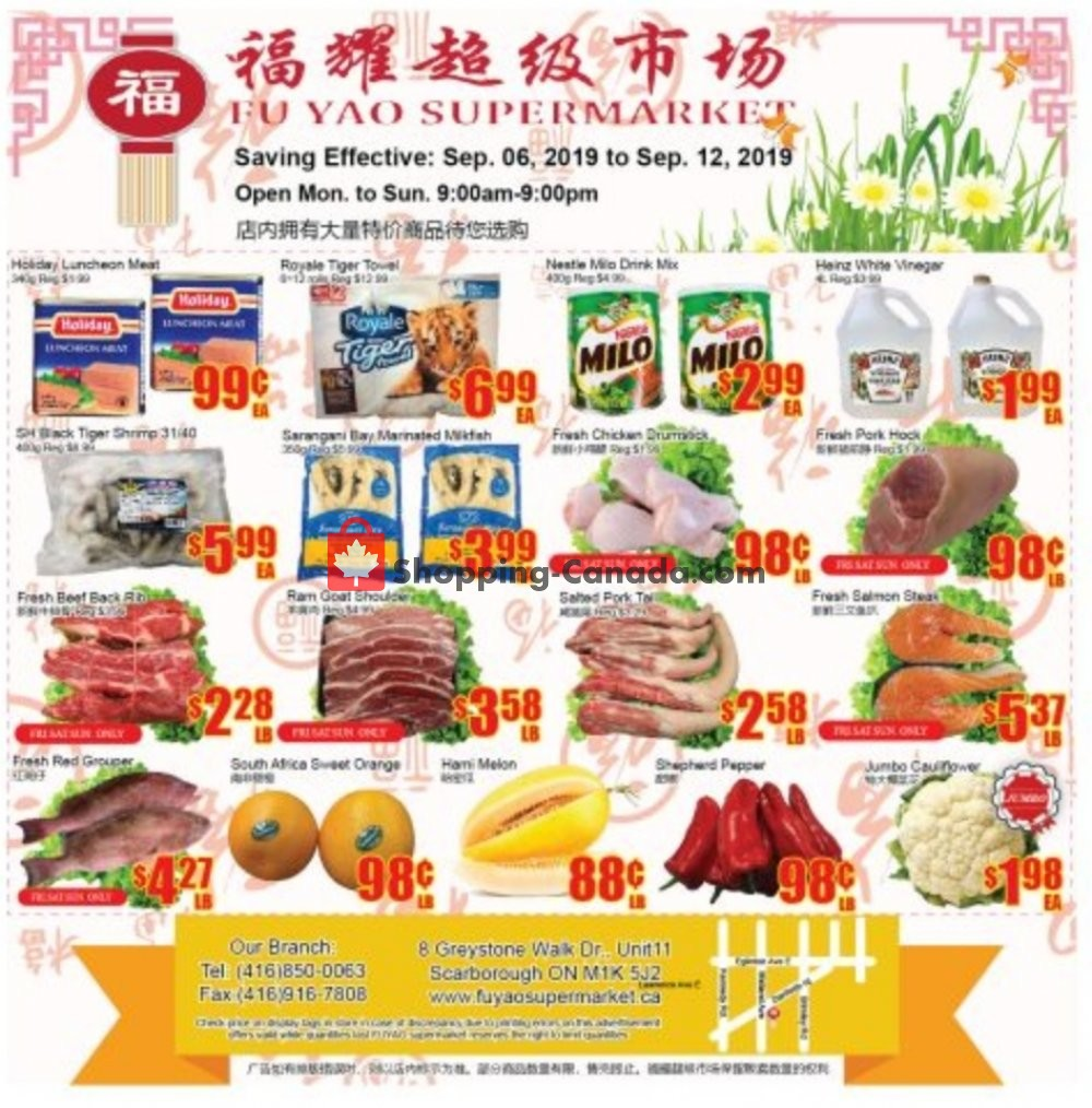 Flyer Fu Yao Supermarket Canada - from Friday September 6, 2019 to Thursday September 12, 2019