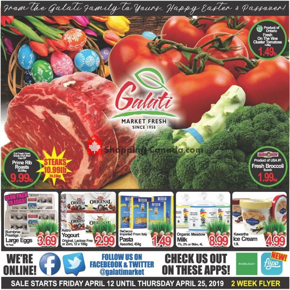 Flyer Galati Market Fresh Canada - from Friday April 12, 2019 to Thursday April 25, 2019