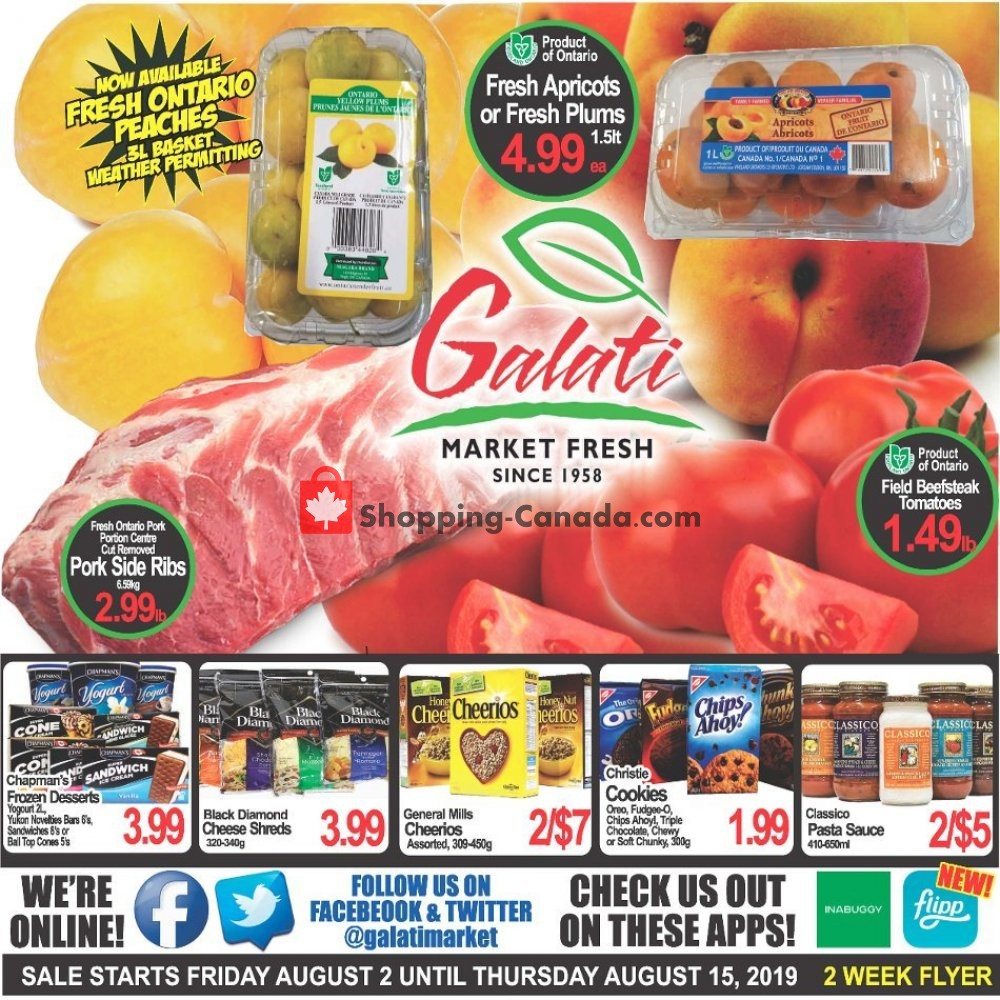 Flyer Galati Market Fresh Canada - from Friday August 2, 2019 to Thursday August 15, 2019