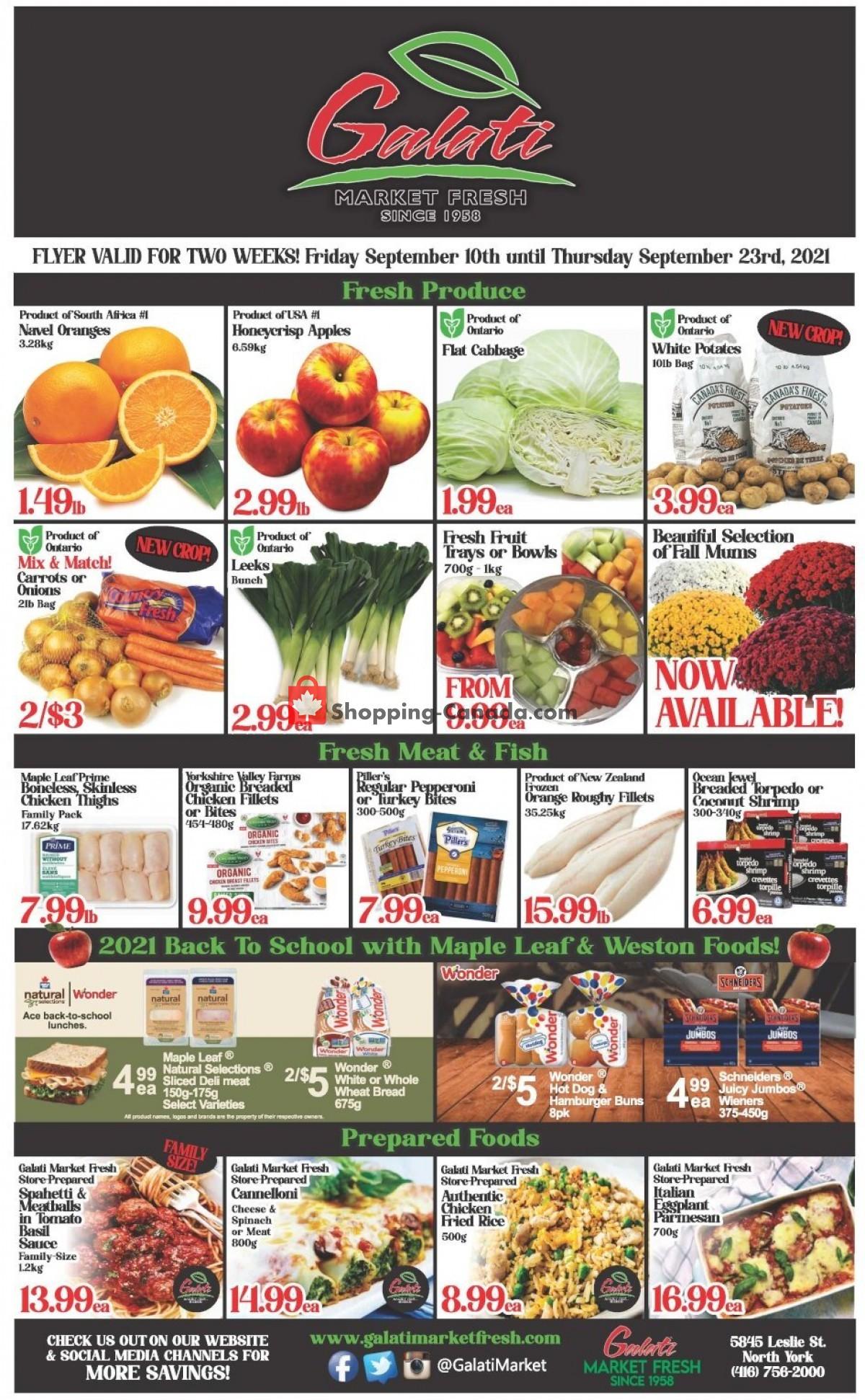 Flyer Galati Market Fresh Canada - from Friday September 10, 2021 to Thursday September 23, 2021
