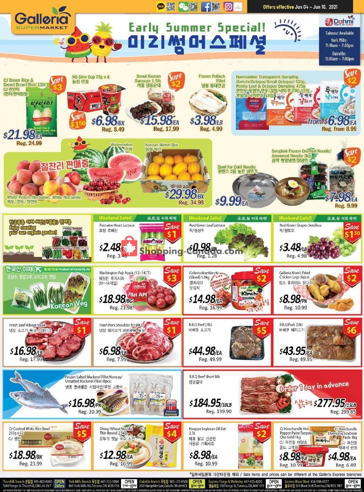 Flyer Galleria Supermarket Canada - from Friday June 4, 2021 to Thursday June 10, 2021