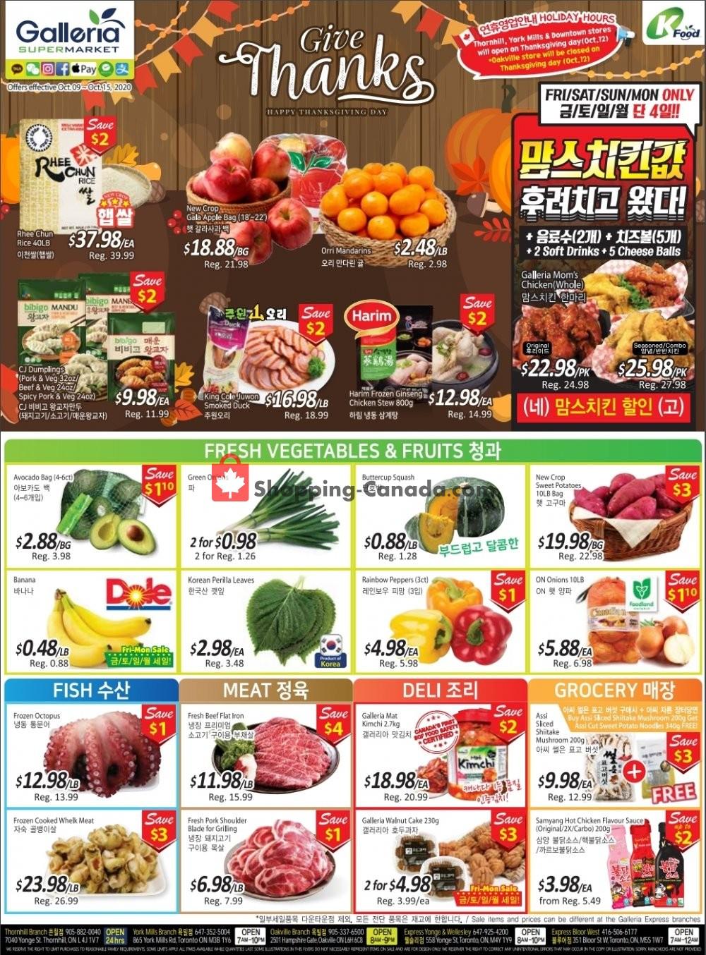 Flyer Galleria Supermarket Canada - from Friday October 9, 2020 to Thursday October 15, 2020