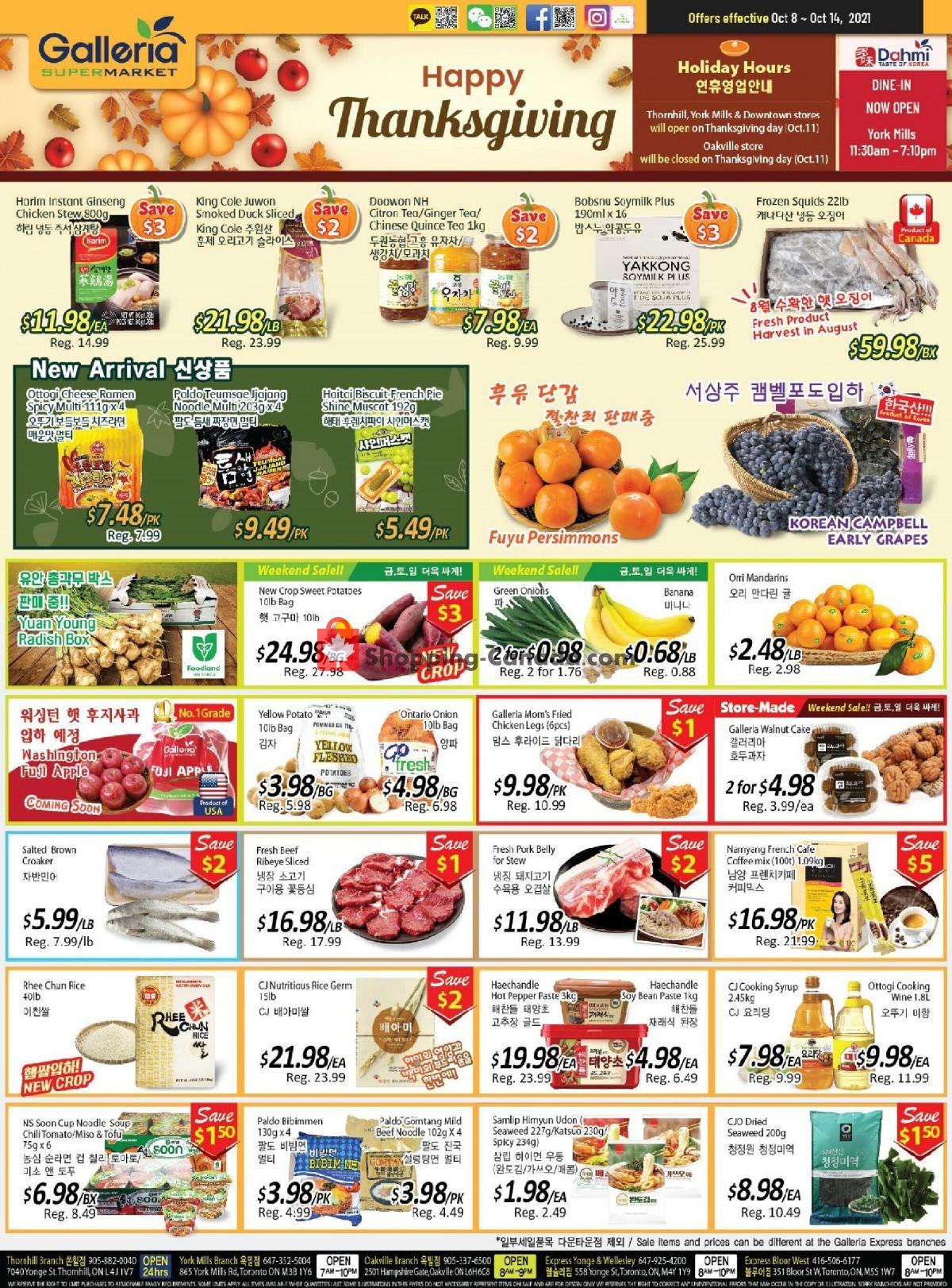 Flyer Galleria Supermarket Canada - from Friday October 8, 2021 to Thursday October 14, 2021