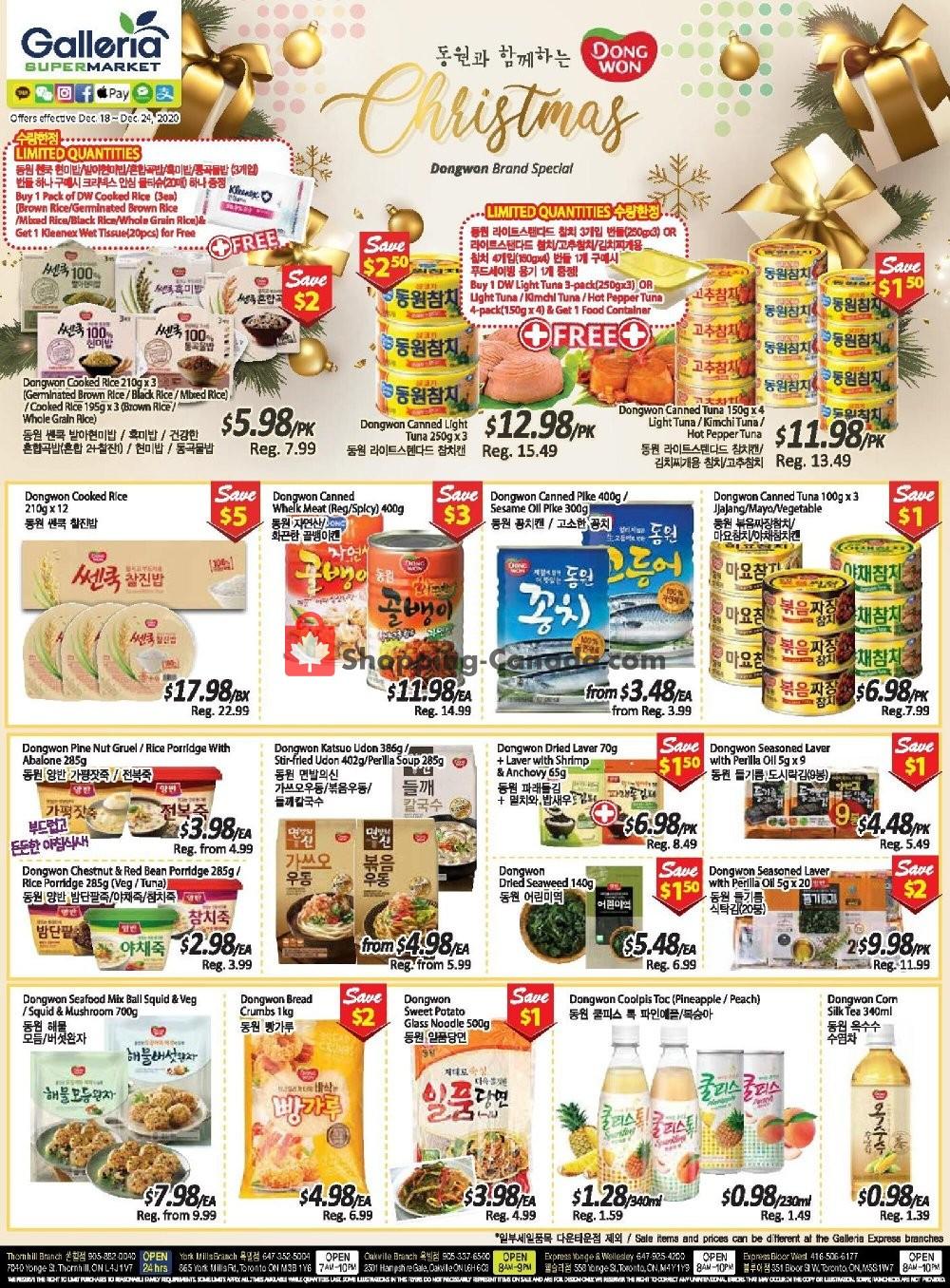 Flyer Galleria Supermarket Canada - from Friday December 18, 2020 to Thursday December 24, 2020