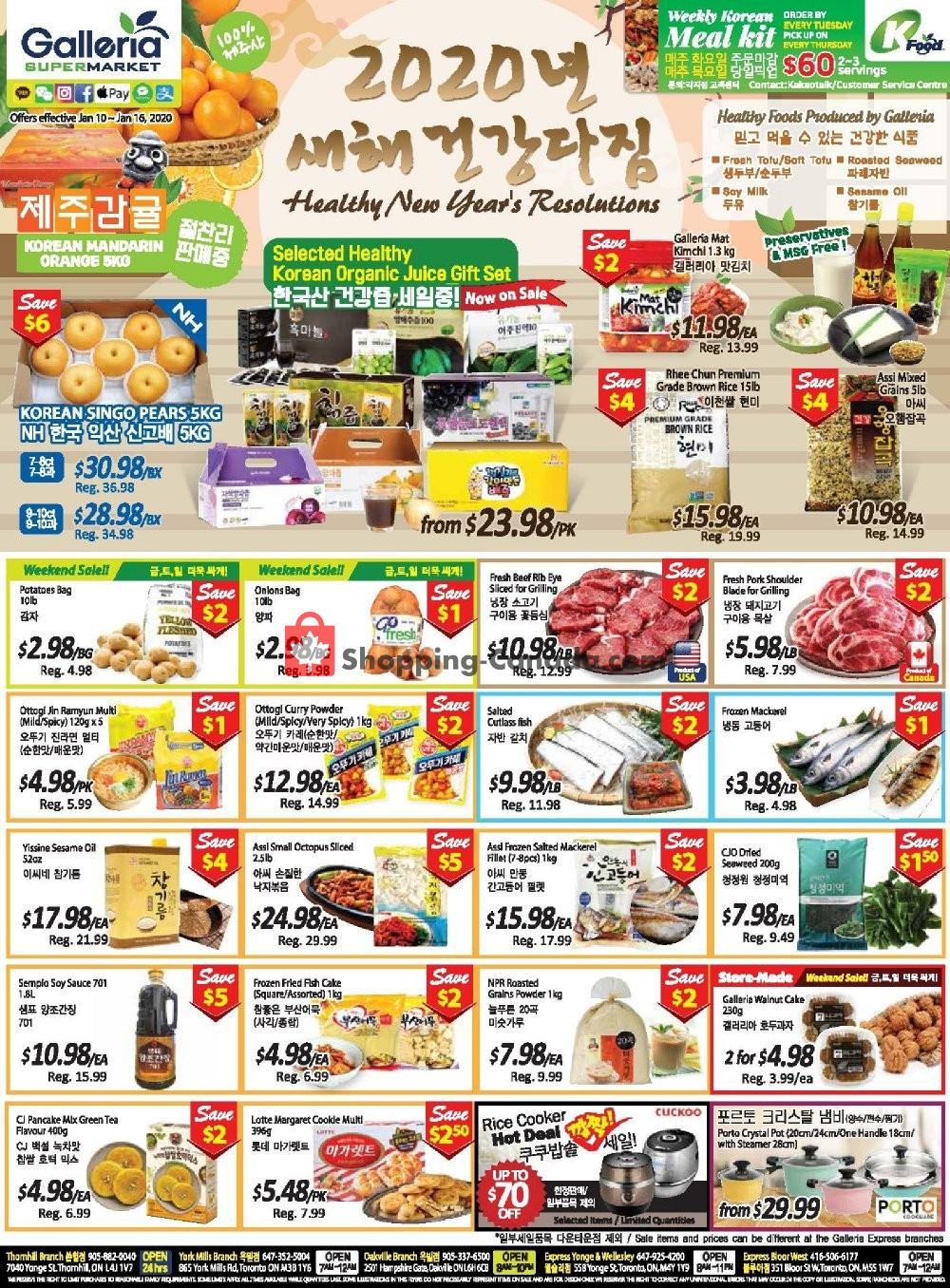 Flyer Galleria Supermarket Canada - from Friday January 10, 2020 to Thursday January 16, 2020