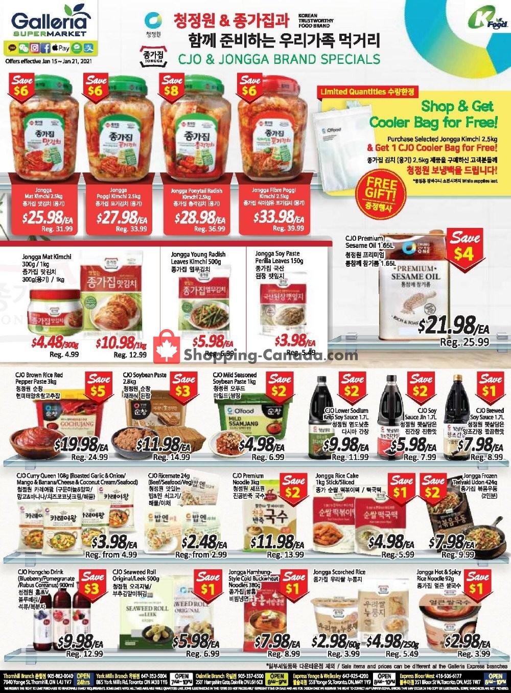 Flyer Galleria Supermarket Canada - from Friday January 15, 2021 to Thursday January 21, 2021