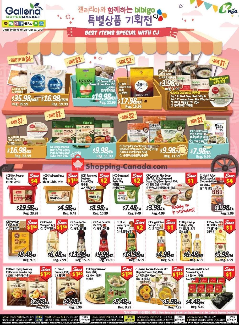Flyer Galleria Supermarket Canada - from Friday January 22, 2021 to Thursday January 28, 2021