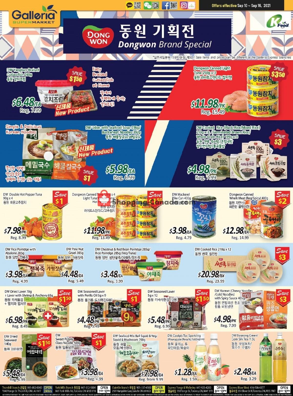 Flyer Galleria Supermarket Canada - from Friday September 10, 2021 to Thursday September 16, 2021