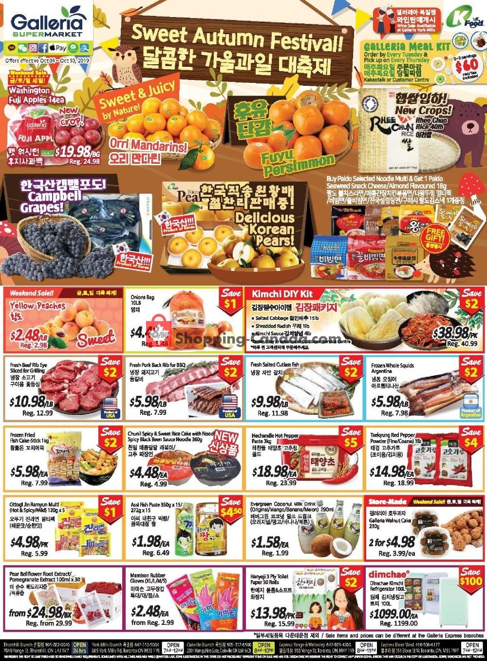Flyer Galleria Supermarket Canada - from Friday October 4, 2019 to Thursday October 10, 2019