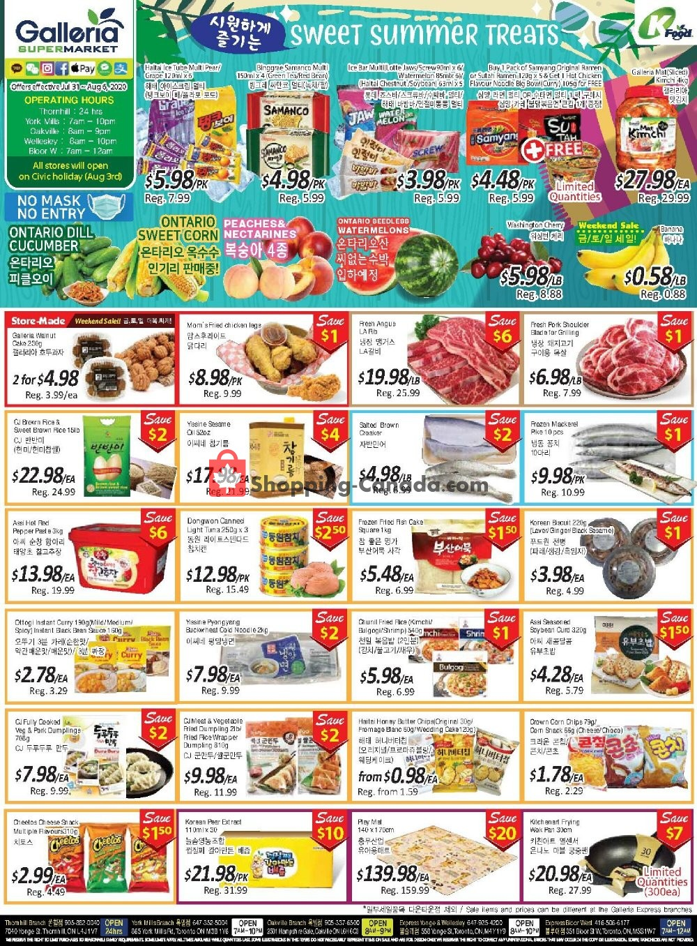 Flyer Galleria Supermarket Canada - from Friday July 31, 2020 to Thursday August 6, 2020