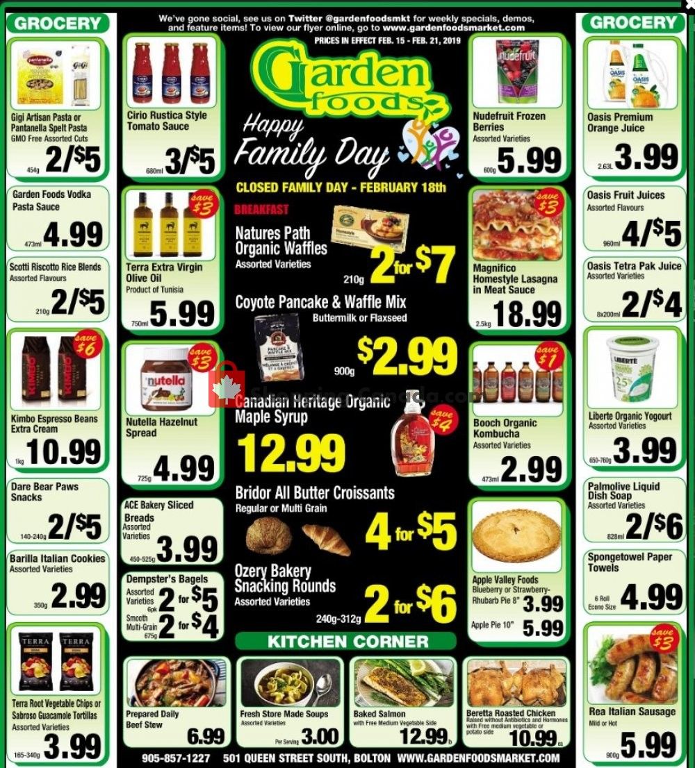 Flyer Garden Foods Canada - from Friday February 15, 2019 to Thursday February 21, 2019