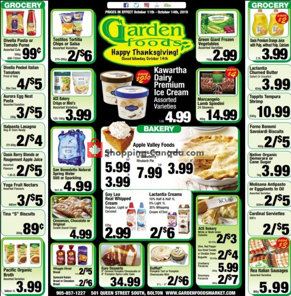 Flyer Garden Foods Canada - from Friday October 11, 2019 to Monday October 14, 2019