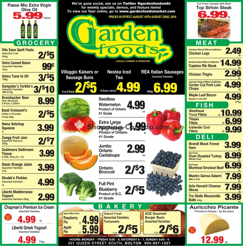 Flyer Garden Foods Canada - from Friday August 16, 2019 to Thursday August 22, 2019