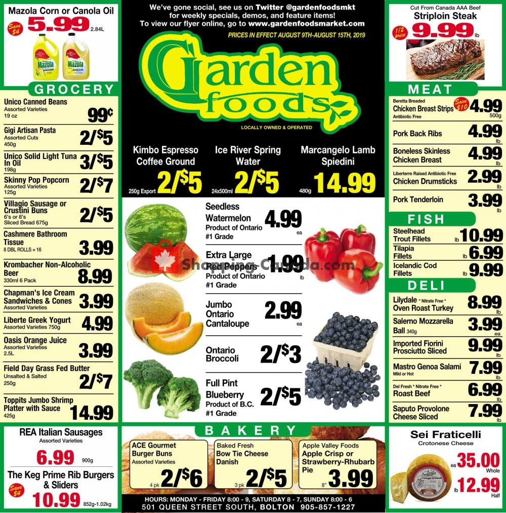 Flyer Garden Foods Canada - from Friday August 9, 2019 to Thursday August 15, 2019