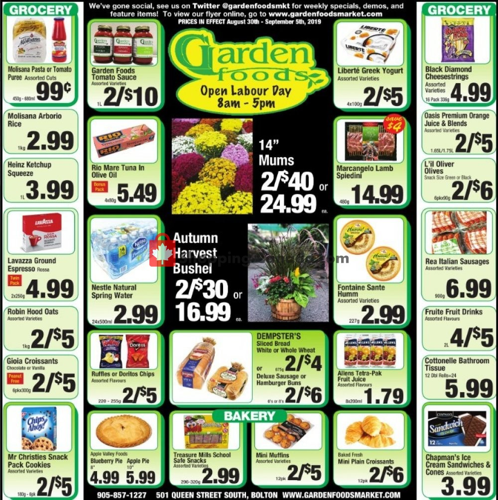 Flyer Garden Foods Canada - from Friday August 30, 2019 to Thursday September 5, 2019