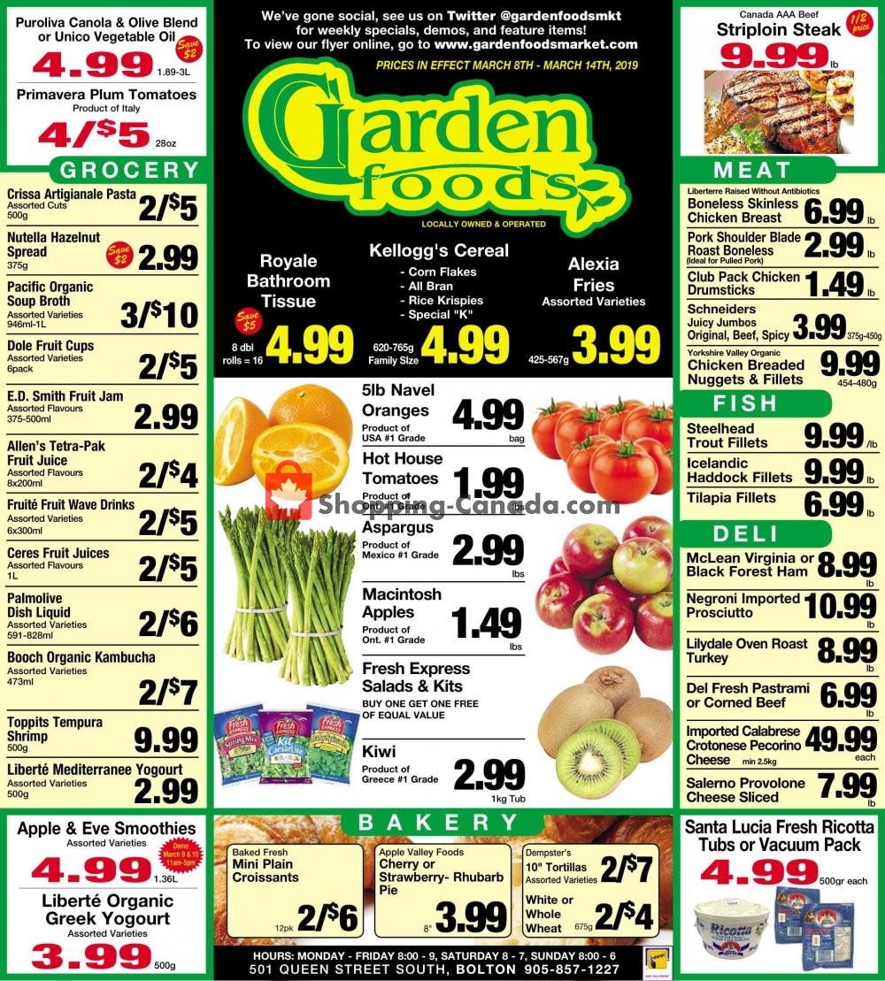 Flyer Garden Foods Canada - from Friday March 8, 2019 to Thursday March 14, 2019